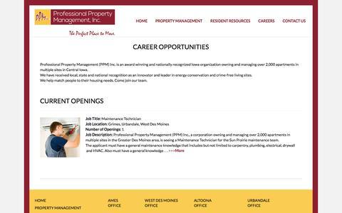 Screenshot of Jobs Page ppm-inc.com - CAREERS - Professional Property Management - captured Nov. 14, 2016