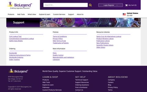 Screenshot of Support Page biolegend.com - BioLegend - Support Tab - captured Sept. 21, 2019
