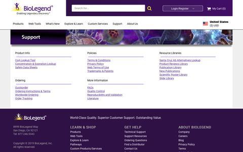 Screenshot of Support Page biolegend.com - BioLegend - Support Tab - captured Sept. 21, 2019