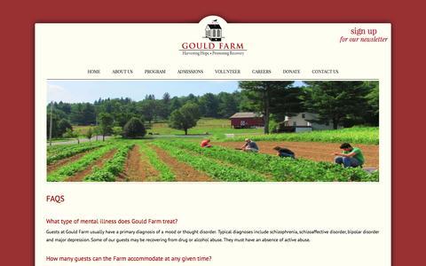 Screenshot of FAQ Page gouldfarm.org - FAQs | Gould Farm - captured Dec. 12, 2015