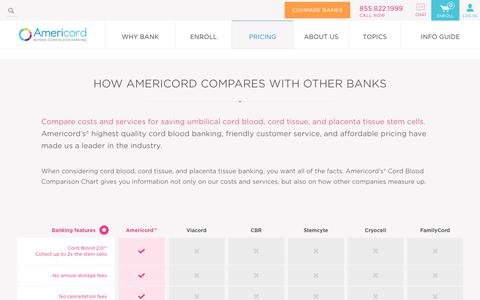 Screenshot of Pricing Page americordblood.com - Cord Blood Banking Cost Comparison Chart | Americord - captured Sept. 28, 2018