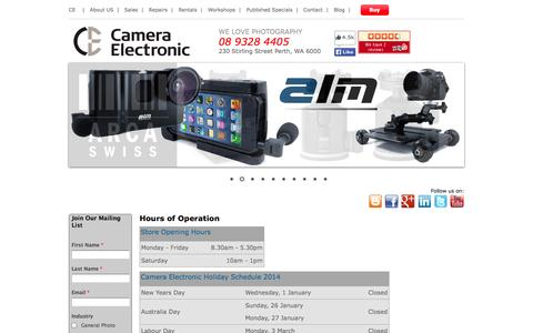 Screenshot of Hours Page cameraelectronic.com.au - Hours of Operation - Camera Electronic Perth Western Australia - captured Oct. 1, 2014