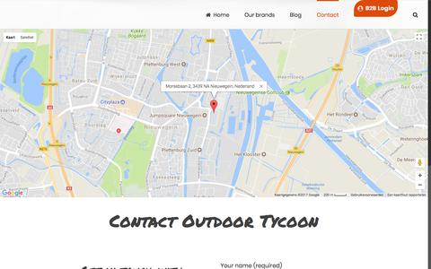 Screenshot of Contact Page outdoortycoon.com - Contact Outdoor Tycoon - Your supplier in outdoor clothing and gear in Europe. - captured Oct. 10, 2017