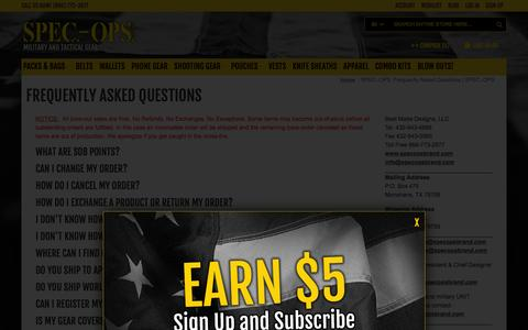 Screenshot of FAQ Page specopsbrand.com - SPEC.-OPS. Frequently Asked Questions | SPEC.-OPS. - captured Jan. 26, 2016