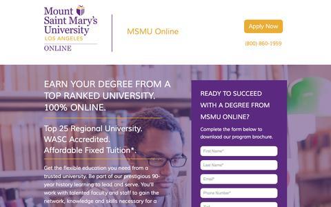 Screenshot of Landing Page msmu.edu - MSMU Online | MSMU - captured Oct. 30, 2016