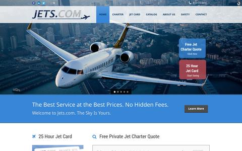 Screenshot of Home Page jets.com - Private Jet Rental: Charter Corporate Jets - captured Sept. 24, 2014