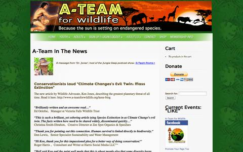 Screenshot of Press Page a-teamforwildlife.org - A-Team In The News - A-Team for Wildlife - captured Sept. 30, 2014