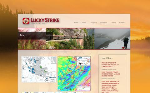 Screenshot of Maps & Directions Page luckystrikeresources.com - Maps - Lucky Strike Resources - captured Oct. 3, 2014