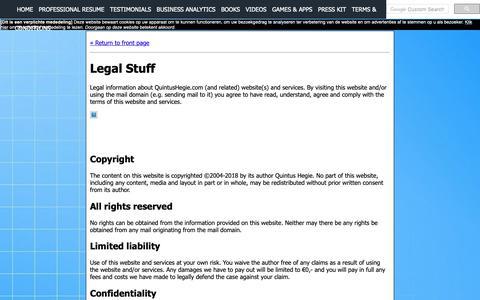 Screenshot of Terms Page quintushegie.com - Legal Stuff - captured Sept. 30, 2018