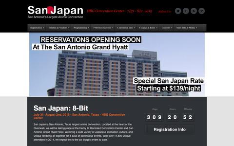 Screenshot of Home Page san-japan.org - San Japan: 8-Bit - July 31st - Aug. 2nd 2015 | HBG Convention Center - 7/31 - 8/2, 2015 - captured Sept. 24, 2014