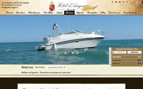Screenshot of Services Page hotel-aragon.fr - Activités Montpellier | Hôtel d'Aragon 3 étoiles Montpellier - captured Dec. 16, 2018