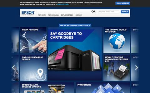 Screenshot of Home Page epson.co.za - Welcome to Epson South Africa - captured Sept. 10, 2015