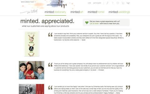 Screenshot of Testimonials Page minted.com - Minted.com: Wedding Invitations, Party Invitations, Baby Shower, Birthday & Save The Date Cards - captured Jan. 22, 2017