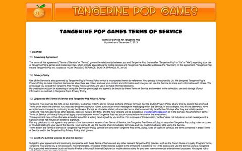 Screenshot of Terms Page tangerinepop.com - Tangerine POP: Terms of Service - captured Oct. 1, 2014