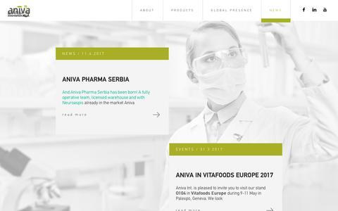 Screenshot of Press Page aniva-int.com - NEWS - Aniva International - captured Oct. 8, 2017