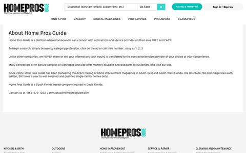 Screenshot of About Page homeprosguide.com - About Home Pros Guide | Home Pros Guide Magazine - captured Dec. 8, 2018
