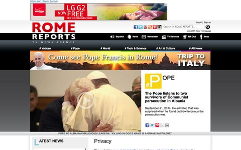 Screenshot of Privacy Page romereports.com - ROME REPORTS TV News Agency - captured Sept. 23, 2014