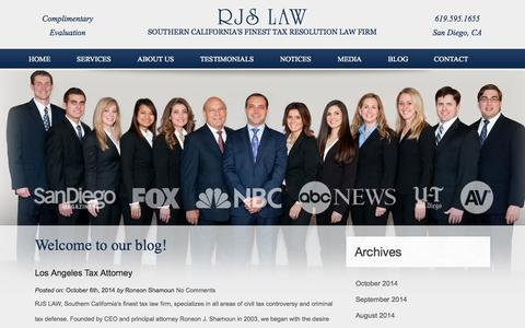 Screenshot of Blog irssolution.com - San Diego Legal Blog | RJS Law Firm - captured Oct. 7, 2014