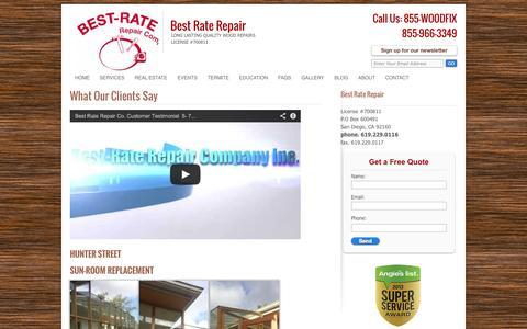 Screenshot of Testimonials Page best-rate-repair.com - Testimonials/ Customer Reviews | Best Rate Repair - captured Oct. 5, 2014