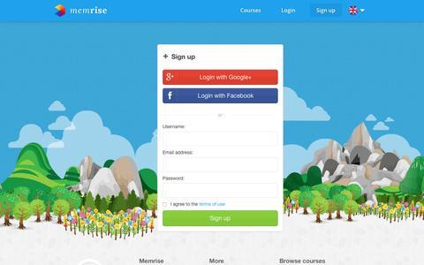 Screenshot of Signup Page memrise.com - Sign up - Memrise - captured Dec. 21, 2015