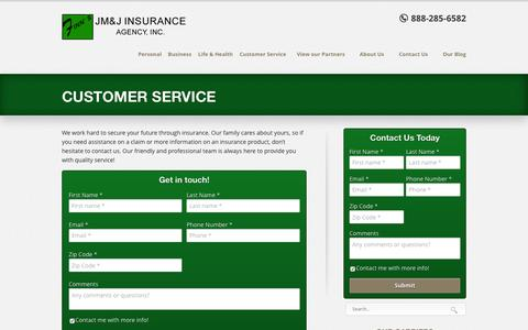 Screenshot of Support Page finnsins.com - Customer Service | Finn's JM&J Insurance Agency - captured Feb. 10, 2016