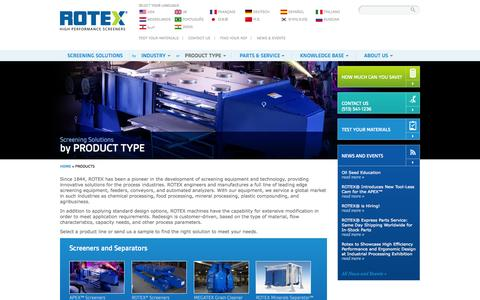 Screenshot of Products Page rotex.com - Rotex Global Products | ROTEX - captured Oct. 7, 2014