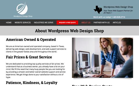 Screenshot of About Page wordpressdesignshop.com - About Wordpress Web Design Shop | Dallas TX - captured July 9, 2019