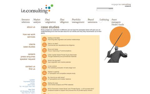 Screenshot of Case Studies Page ieconsulting.co.uk - i.e.consulting - captured Sept. 30, 2014