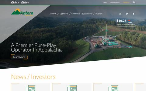 Screenshot of Home Page anteroresources.com - Antero Resources Corporation (AR) - captured Jan. 29, 2019