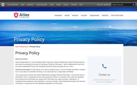 Screenshot of Privacy Page atlasprofessionals.com - Contact | Atlas Professionals - captured July 31, 2018