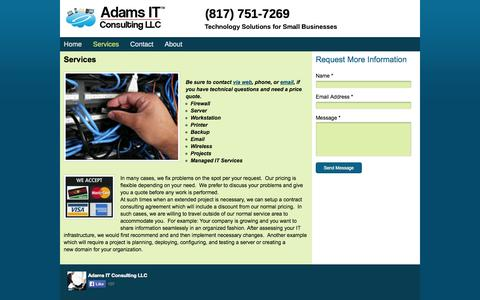 Screenshot of Services Page adamsitconsulting.net - Adams IT Consulting - Services - captured Oct. 4, 2014