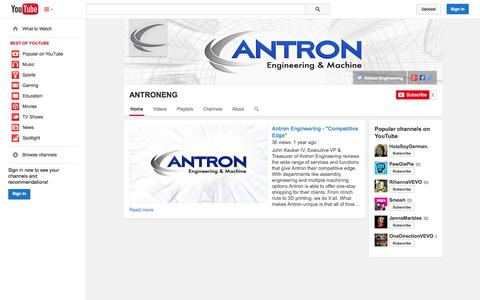 Screenshot of YouTube Page youtube.com - ANTRONENG  - YouTube - captured Oct. 23, 2014