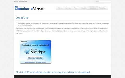 Screenshot of Locations Page chemicomays.com - Locations   Chemical Management Services In Action   ChemicoMays - captured Oct. 2, 2014