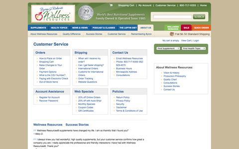 Screenshot of Support Page wellnessresources.com - Customer Service | Wellness Resources, Inc. - captured Sept. 23, 2014