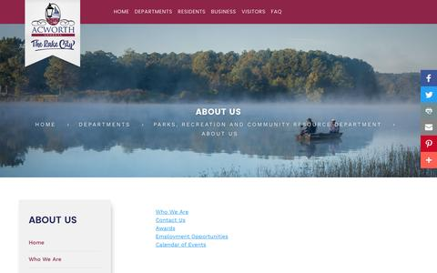 Screenshot of About Page acworth.org - Who We Are Contact Us Awards Employment Opportunities Calendar of Events - captured Dec. 28, 2016