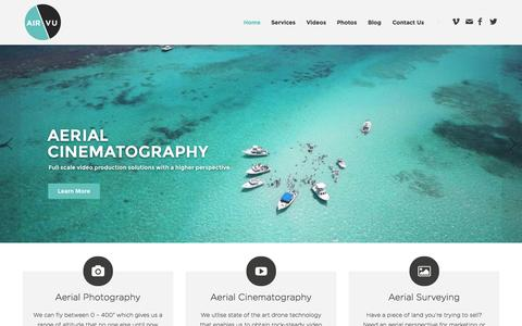 Screenshot of Home Page airvu.co - AirVu Aerial Cinematography and Photography - captured Jan. 21, 2015