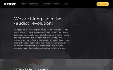Screenshot of Jobs Page acast.com - Jobs - acast - captured July 8, 2019