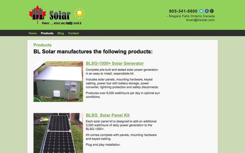 Screenshot of Products Page blsolar.com - Products | BL Solar - captured April 6, 2016