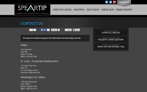 Screenshot of Contact Page speartip.com - Contact Us - SpearTip - captured Sept. 30, 2014
