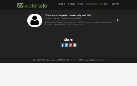 Screenshot of Testimonials Page wastemaster.com - Wastemaster | Reduce Waste Disposal Costs | Testimonials - captured Oct. 27, 2014