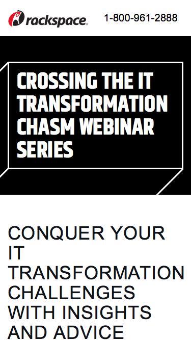 Screenshot of Landing Page  rackspace.com - Crossing the IT Transformation Chasm Webinar Series