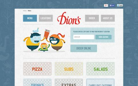 Screenshot of Menu Page dions.com - Dion's Pizza Menu - captured Sept. 23, 2014