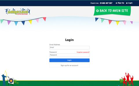 Screenshot of Login Page barracudas.co.uk - Barracudas Bookings - Login - captured Nov. 1, 2019