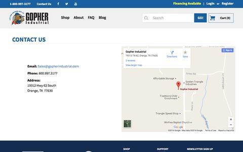 Screenshot of Contact Page gopherindustrial.com - Contact Us - captured Nov. 12, 2016