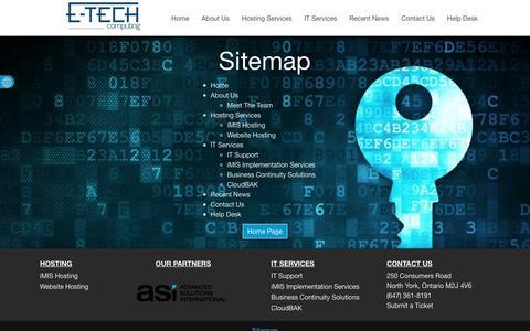Screenshot of Site Map Page etechcomputing.com - Sitemap | E-Tech Computing - captured Dec. 5, 2015