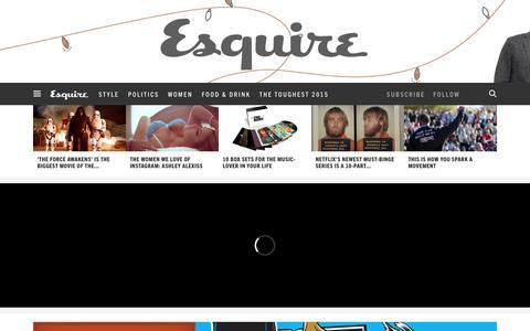 Screenshot of Home Page esquire.com - Esquire - Men's Fashion, Cocktails, Politics, Interviews, and Women - captured Dec. 19, 2015