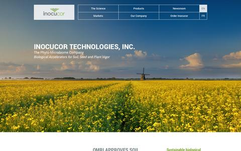 Screenshot of Home Page inocucor.com - Sustainable Biological Products | Inocucor Technologies - captured Sept. 30, 2014