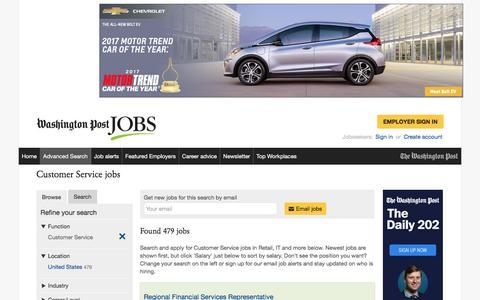 Screenshot of Support Page washingtonpost.com - Customer Service jobs - captured Feb. 6, 2017