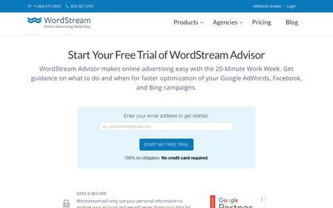 WordStream Free Trial   WordStream