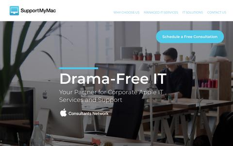 Screenshot of Home Page supportmymac.ca - Support My Mac – Drama-Free IT - captured April 24, 2018